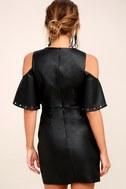 Dakota Black Vegan Leather Cold-Shoulder Dress 3