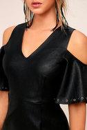 Dakota Black Vegan Leather Cold-Shoulder Dress 4