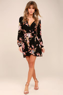 In Bloom Black Floral Print Wrap Dress 2
