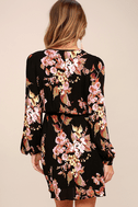 In Bloom Black Floral Print Wrap Dress 4
