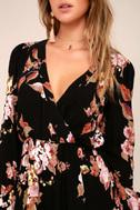 In Bloom Black Floral Print Wrap Dress 5