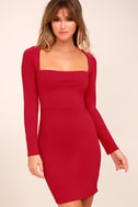 Play the Part Red Long Sleeve Bodycon Dress 3
