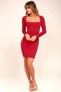 Play the Part Red Long Sleeve Bodycon Dress 2