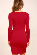 Play the Part Red Long Sleeve Bodycon Dress 4