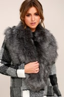 Faux-Ever Dark Grey Faux Fur Stole 1