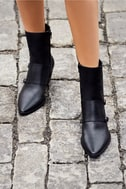 Matisse Flipside Black Leather Pointed Toe Mid-Calf Boots 5