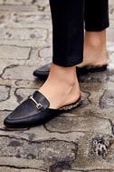 Antonia Black Faux Fur Loafer Slides 8