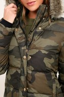Cadet Cutie Army Green Camo Print Faux Fur Puffer Jacket 4