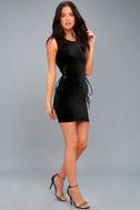 Capture My Attention Black Velvet Lace-Up Bodycon Dress 2