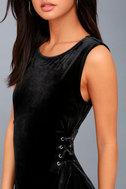 Capture My Attention Black Velvet Lace-Up Bodycon Dress 4