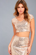 Now and Forever Rose Gold Sequin Two-Piece Maxi Dress 3