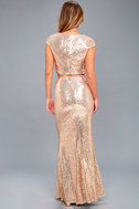 Now and Forever Rose Gold Sequin Two-Piece Maxi Dress 4