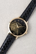 Nixon X Amuse Society Arrow Gold, Black, and Palm Leather Watch 4