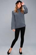 Skyler Slate Blue Mock Neck Sweater 2