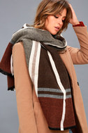 Prep School Brown and Red Plaid Scarf 5