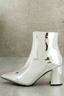 Nebula Silver Patent Ankle Booties 1