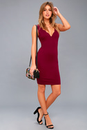 Watch for Curves Wine Red Sleeveless Bodycon Dress 1