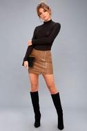 Tough Stuff Tan Vegan Leather Mini Skirt 1