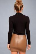 Tough Stuff Tan Vegan Leather Mini Skirt 6