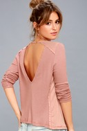 Layer of Love Mauve Pink Backless Long Sleeve Top 2