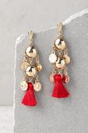 Battlefield Gold and Red Tassel Earrings 2