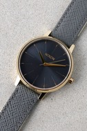 Nixon Kensington Leather Light Gold and Charcoal Watch 4