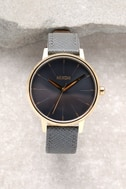 Nixon Kensington Leather Light Gold and Charcoal Watch 2