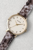 Nixon X Amuse Society Arrow Gold and Taupe Leather Watch 4