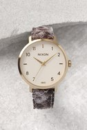 Nixon X Amuse Society Arrow Gold and Taupe Leather Watch 2