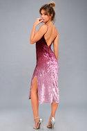 Sunset Skyline Burgundy Ombre Velvet Midi Dress 3