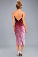 Sunset Skyline Burgundy Ombre Velvet Midi Dress 4
