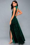 In the Louvre Forest Green Velvet Backless Maxi Dress 1