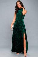 In the Louvre Forest Green Velvet Backless Maxi Dress 2