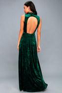In the Louvre Forest Green Velvet Backless Maxi Dress 3