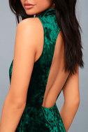 In the Louvre Forest Green Velvet Backless Maxi Dress 4