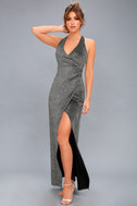 Discoball Diva Black and Silver Wrap Maxi Dress 2