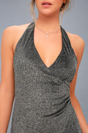 Discoball Diva Black and Silver Wrap Maxi Dress 5