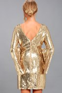 Beaming Belle Gold Sequin Bell Sleeve Dress 3
