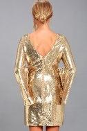 Beaming Belle Gold Sequin Bell Sleeve Dress 3