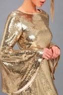 Beaming Belle Gold Sequin Bell Sleeve Dress 4