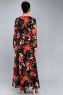 Wondrous Water Lilies Orange and Black Floral Print Maxi Dress 3