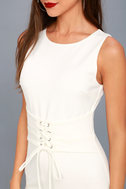Say So White Lace-Up Bodycon Midi Dress 5