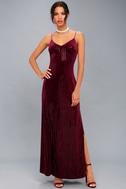 Studio Lounge Burgundy Velvet Sequin Maxi Dress 1