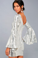 Beaming Belle Silver Sequin Bell Sleeve Dress 3