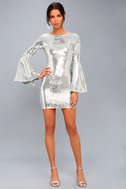 Beaming Belle Silver Sequin Bell Sleeve Dress 2