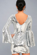 Beaming Belle Silver Sequin Bell Sleeve Dress 4