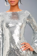 Beaming Belle Silver Sequin Bell Sleeve Dress 5