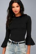 On My Level Black Flounce Sleeve Sweater Top 2
