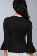 On My Level Black Flounce Sleeve Sweater Top 3