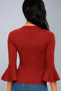 On My Level Rust Red Flounce Sleeve Sweater Top 2